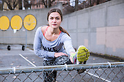 Jan 19, 2013; Baltimore, MD, USA; Polina Kopiy a fitness model from Sports+Lifestyle Unlimited runs, stretches, and lifts weight in industrial backdrops around south east Baltimore neighborhoods of Fells Point and Canton. Mandatory Credit: Brian Schneider-www.ebrianschneider.com