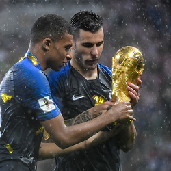 Kylian Mbappe and Lucas Hernandez of France celebrates during the World Cup Final match between France and Croatia at Luzhniki Stadium on July 15, 2018 in Moscow, Russia. (Photo by Anthony Dibon/Icon Sport)