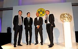 14.05.2011, U-Haus, Dortmund, GER, 1.FBL, Borussia Dortmund Meisterbankett im Bild  Geschäftsführer Hans Joachim WATZKE,BVB, rechts mit Manager Michael ZORC, links, Nuris SAHIN, zweiter von links und DEDE auf der Bühne //   German 1.Liga Football ,  Borussia Dortmund Championscelebration, Dortmund, 14/05/2011 . EXPA Pictures © 2011, PhotoCredit: EXPA/ nph/  Conny Kurth       ****** out of GER / SWE / CRO  / BEL ******