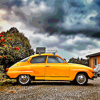 Old retro Saab car in usa