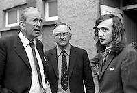 Lord Donaldson, Minister of State for N Ireland, left, with Basil Glass, Alliance Party of N Ireland & former community relations minister, & Brian Green, secretary of the Lower Ormeau Community Centre, Balfour Drive, Belfast. It was one of several visits that the minister made to community centres throughout Belfast. 197407310415a.<br /> <br /> Copyright Image from Victor Patterson, 54 Dorchester Park, Belfast, UK, BT9 6RJ<br /> <br /> t1: +44 28 9066 1296 (from Rep of Ireland 048 9066 1296)<br /> t2: +44 28 9002 2446 (from Rep of Ireland 048 9002 2446)<br /> m: +44 7802 353836<br /> <br /> victorpattersonbelfast@gmail.com<br /> victorpatterson@me.com<br /> <br /> www.victorpatterson.com<br /> <br /> Please see my Terms and Conditions of Use at https://www.victorpatterson.com/page2<br /> It is IMPORTANT that you familiarise yourself with them.<br /> <br /> Images used on the Internet incur an additional cost and must be visibly watermarked i.e. © Victor Patterson within the body of the image and copyright metadata must not be deleted. Images used on the Internet have a size restriction of 4kbs and are chargeable at rates available at victorpatterson.com.<br /> <br /> This image is available only for the use of the download recipient i.e. television station, newspaper, magazine, book publisher, etc, and must not be passed on to any third party. It is also downloaded on condition that each and every usage is notified within 7 days to victorpatterson@me.com<br /> <br /> The right of Victor Patterson (or the named photographer) to be identified as the author is asserted in accordance with The Copyright Designs And Patents Act (1988). All moral rights are asserted.