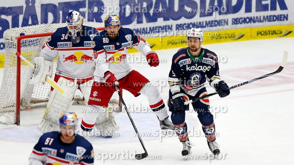 15.03. 2016, Stadthalle, Villach, AUT, EBEL, EC VSV vs EC Red Bull Salzburg, halbfinale, 2. Spiel, im Bild Juuso Riksman (EC RBS), Zdenek Kutlak (EC RBS) und Eric Hunter (VSV) // during the Erste Bank Icehockey League 2nd semifinal match between EC VSV vs EC Red Bull Salzburg at the City Hall in Villach, Austria on 2016/03/15, EXPA Pictures © 2016, PhotoCredit: EXPA/ Oskar Hoeher
