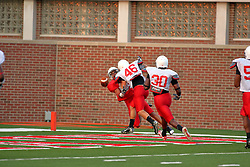 18 AUG 2007:  The Illinois State Redbirds, ranked in the top 10 in pre-season polls, prepare for the beginning of the season during the annual Red/White inter-squad scrimmage on the newly installed turf at Hancock stadium in Normal Illinois.