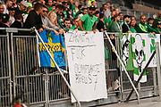STOCKHOLM 2016-08-04<br /> KVAL TILL EUROPA LEAGUE AIK VS PANATHINAIKOS<br /> En banderoll vid Panathinaikos klack under matchen mellan AIK och Panathinaikos p&aring; Tele2 Arena, torsdag den 4 augusti 2016.<br /> Foto: Nils Petter Nilsson/Ombrello<br /> ***BETALBILD***