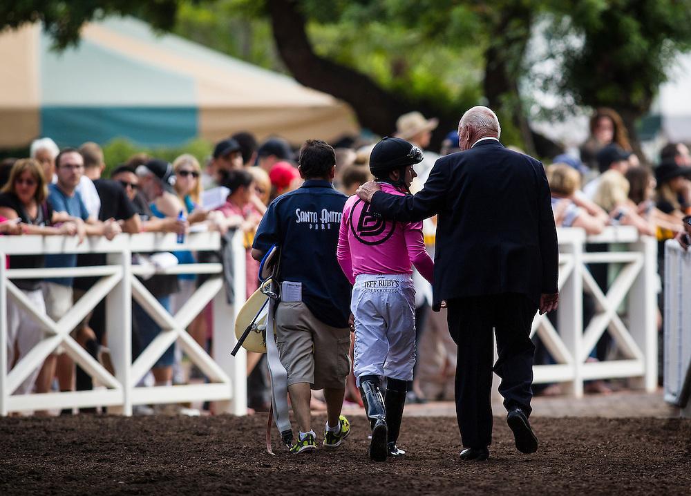 June 27 2015: Joe Talamo and James Cassidy walk back to the jockeys room at Santa Anita Park in Arcadia CA. Alex Evers/ESW/CSM