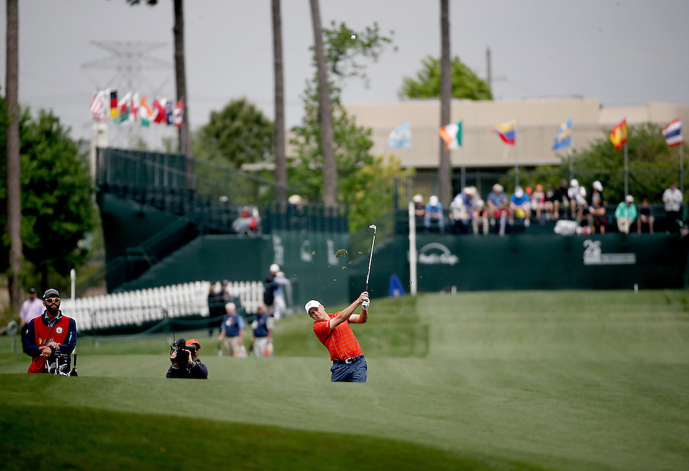 Jordan Spieth his an approach shot on hole #1 during the second round of the Shell Houston Open golf tournament at the Golf Club of Houston on , Friday, April 1, 2016, in Humble, Texas.  (Photo: Thomas B. Shea/For the Chronicle)
