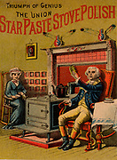Trade card advertising stove polish: in the centre of the picture is a typical box stove. The figure on the right is supposed to represent George Washington (1732-1799). USA late 19th century chromolithograph.