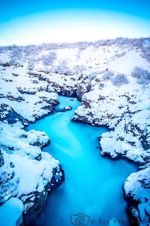 Barnafoss waterfall also known as Hraunfossar
