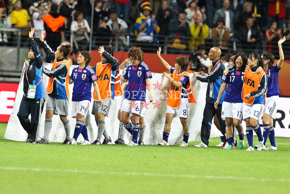 13.07.2011, Commerzbank Arena, Frankfurt, GER, FIFA Women Worldcup 2011, Halbfinale,  Japan (JPN) vs. Schweden (SWE), im Bild.Schlussjubel Japan.. // during the FIFA Women´s Worldcup 2011, Semifinal, Japan vs Sweden on 2011/07/13, Commerzbank Arena, Frankfurt, Germany.   EXPA Pictures © 2011, PhotoCredit: EXPA/ nph/  Mueller       ****** out of GER / CRO  / BEL ******