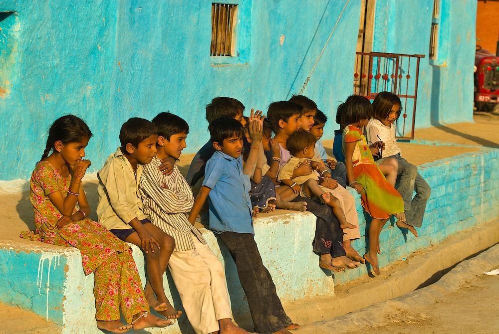 Children in a Bishnoi tribal village, near Rohet, Rajasthan, India