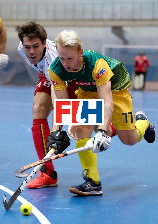 BERLIN - Indoor Hockey World Cup<br /> South Africa - Belgium<br /> foto: Thibault Cornillie AND Jarryd Jones <br /> WORLDSPORTPICS COPYRIGHT FRANK UIJLENBROEK