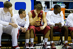 January 9, 2010; Berkeley, CA, USA;  Southern California Trojans forward Evan Smith (22) reacts on the bench during the second half against the California Golden Bears at the Haas Pavilion.  California defeated USC 67-59.