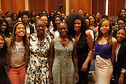 New York, NY-July 30: (L-R) Dean Avis Hinkson, New York City First Lady Chirlane McCray and Beverly Bond, Founder Black Girls Rock! and young women attend the Inaugural Black Girls LEAD Conference held at Barnard College at Columbia University on July 30, 2015 in New York City.  (Photo by Terrence Jennings/terrencejennings.com)