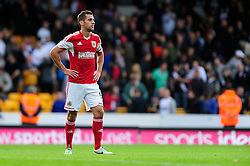 Bristol City's Sam Baldock cuts a dejected figure after Bristol City concede a late goal in the last minute, preventing Bristol City winning their first game in the league - Photo mandatory by-line: Dougie Allward/JMP - Tel: Mobile: 07966 386802 05/10/2013 - SPORT - FOOTBALL - Vale Park - Stoke-on-Trent - Port Vale V Bristol City - Sky Bet League 1