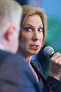 Former CEO and GOP presidential hopeful Carly Fiorina is asked a question by Mike Rogers during at the National Security Forum with the Americans for Peace, Prosperity and Security at the Citadel Military College September 22, 2015 in Charleston, South Carolina.
