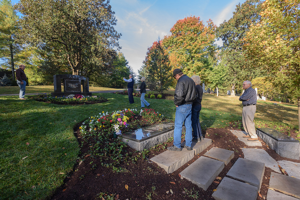 The Ali plot, the gravesite of boxing champion and humanitarian Muhammad Ali with space for the future burial of 12 more family members, photographed Saturday, Nov. 5, 2016 at Cave Hill Cemetery in Louisville, Ky. (Photo by Brian Bohannon)