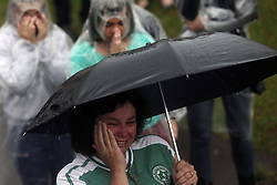 CHAPECO (BRAZIL), Dec. 3, 2016 (Xinhua) -- A woman reacts to the funeral procession for the members of Brazilian soccer team Chapecoense who were killed in an air crash in Colombia, outside the Chapeco Airport in Chapeco, Brazil, on Dec. 3, 2016. (Xinhua/Rahel Patrasso) (Credit Image: © Rahel Patrasso/Xinhua via ZUMA Wire)