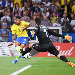 Gabriel Jesus of Brazil misses his chance during the FIFA World Cup Group E match between Serbia and Brazil on June 27, 2018 in Moscow, Russia. (Photo by Anthony Dibon/Icon Sport)