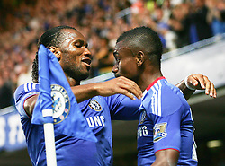 20.04.2011, Stamford Bridge, London, ENG, PL, Chelsea FC vs Birmingham  City, im Bild Chelsea's Didier Drogba celebrates with Chelsea's score Salomon KalouEnglish Premier League, Stamford Bridge, Chelsea v Birmingham City, 20/04/2011, EXPA Pictures © 2010, PhotoCredit: EXPA/ IPS/ Mark Greenwood *** ATTENTION *** UK AND FRANCE OUT!