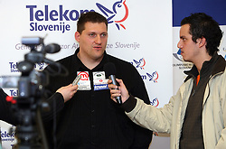 Miran Vodovnik interviewd by Rok Viskovic of Siol Sportal TV at press conference of Athletic Federation of Slovenia (AZS) before the 12th IAAF World Indoor Championships, Valencia, Spain, 7 ? 9 March 2008, on March 3, 2008 in M-Hotel, Ljubljana, Slovenia. (Photo by Vid Ponikvar / Sportal Images)