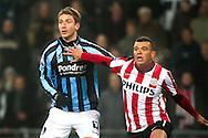 29-01-2011: Voetbal:PSV:Willem II:Eindhoven<br /> David Strahivka in duel met Wilfred Bouma<br /> Foto: Geert van Erven