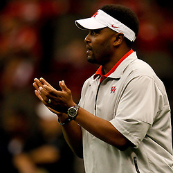 November 10, 2011; New Orleans, LA, USA;  Houston Cougars head coach Kevin Sumlin on the field prior to kickoff of a game against the Tulane Green Wave at the Mercedes-Benz Superdome.  Mandatory Credit: Derick E. Hingle-US PRESSWIRE