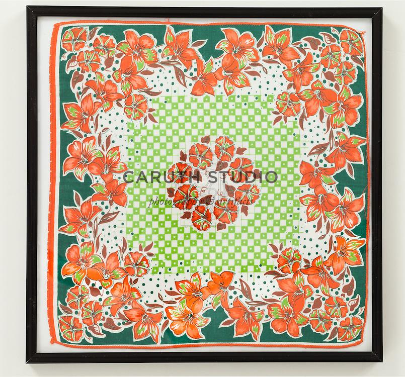 Framed vintage handkerchief