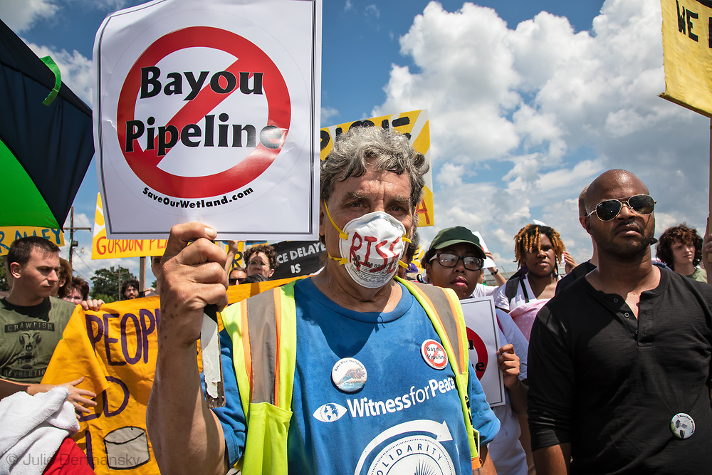 "March on Burton Lane in St. James, Louisiana during a ""Rise for Cancer Alley"" event, one of hundreds of 'Rise for Climate"" events world wide on Sept 8, 2018."