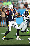 Los Angeles Chargers quarterback Philip Rivers (17) throws a pass during the 2017 NFL week 1 preseason football game against the Seattle Seahawks, Sunday, Aug. 13, 2017 in Carson, Calif. The Seahawks won the game 48-17. (©Paul Anthony Spinelli)