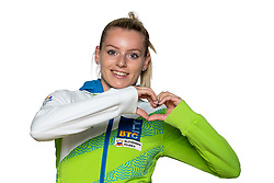 Teja Belak at official photoshoot of Slovenian Gymnastics team prior to 2018 Koper Challenge Cup, on May 14, 2018 in Gimnasticna dvorana, Ljubljana, Slovenia. Photo by Matic Klansek Velej / Sportida
