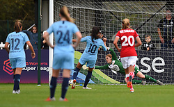 Sophie Baggaley of Bristol City is unable to stop a kick from the spot by Nadia Nadim of Manchester City Women - Mandatory by-line: Paul Knight/JMP - 16/09/2018 - FOOTBALL - Stoke Gifford Stadium - Bristol, England - Bristol City Women v Manchester City Women - Continental Tyres Cup
