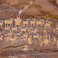 The Great Hunt petroglyph panel, located in Nine Mile Canyon. Near Price, Utah.