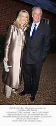 LORD & LADY BELL at a dinner in London on 19th May 2003.PJS 162