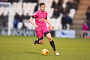 Hartlepool player Rhys Oates with the ball in the second half during the EFL Sky Bet League 2 match between Colchester United and Hartlepool United at the Weston Homes Community Stadium, Colchester, England on 25 February 2017. Photo by Ian  Muir.