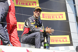 26.07.2015, Hungaroring, Budapest, HUN, FIA, Formel 1, Grand Prix von Ungarn, das Rennen, im Bild Daniel Ricciardo (Infiniti Red Bull Racing/Renault) sitzt in Gedanken auf dem Podium // during the race of the Hungarian Formula One Grand Prix at the Hungaroring in Budapest, Hungary on 2015/07/26. EXPA Pictures &copy; 2015, PhotoCredit: EXPA/ Eibner-Pressefoto/ Bermel<br /> <br /> *****ATTENTION - OUT of GER*****