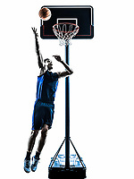 one  man basketball player jumping throwing in silhouette isolated white background