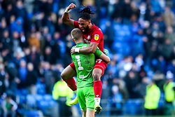 Ashley Williams of Bristol City celebrates with Daniel Bentley after beating Cardiff City - Mandatory by-line: Robbie Stephenson/JMP - 10/11/2019 -  FOOTBALL - Cardiff City Stadium - Cardiff, Wales -  Cardiff City v Bristol City - Sky Bet Championship
