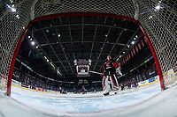 KELOWNA, BC - FEBRUARY 08: Taylor Gauthier #35 of the Prince George Cougars skates to the net at the start of the game against the Kelowna Rockets at Prospera Place on February 8, 2019 in Kelowna, Canada. (Photo by Marissa Baecker/Getty Images)