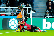 Miguel Almiron (#24) of Newcastle United fouls Ryan Bertrand (#21) of Southampton during the Premier League match between Newcastle United and Southampton at St. James's Park, Newcastle, England on 8 December 2019.