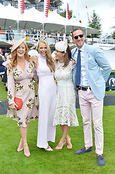 Left to right, Sarah-Jane Mee, Caroline Greenwood, Natalie Pinkham and Will Greenwood at the Qatar Goodwood Festival, Goodwood, West Sussex England. 3 August 2017.<br /> Photo by Dominic O'Neill/SilverHub 0203 174 1069 sales@silverhubmedia.com
