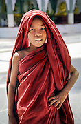 A young buddhist monk in Schwedagon pagoda, Yangon (Rangoon), Burma (Myanmar), 2003.