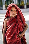 A young buddhist monk in Schwedagon pagoda, Yangon (Rangoon), Burma (Myanmar), 2003.