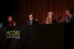 The panelists touch the subject of sexual harassment in the gaming industry during the Feb. 25 Women Making Games panel discussion at Moore college of Art & Design.
