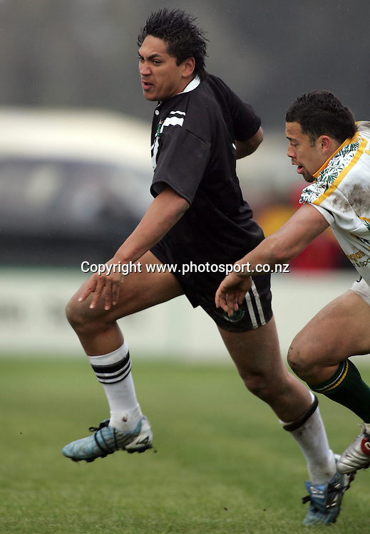Kaine Manihera during the Rugby League test match between NZ Maori and the Cook Islands at Tokoroa Park, Tokoroa, New Zealand on Saturday 8 October, 2005. The match ended in a 26-26 draw. Photo: Hannah Johnston/PHOTOSPORT<br />