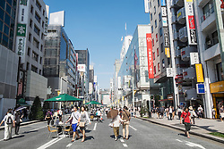 Busy pedestrian street in upmarket shopping district of Ginza in Tokyo Japan