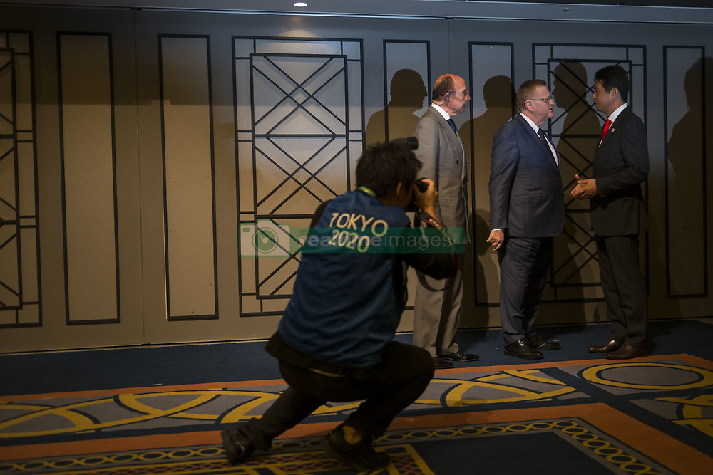 October 3, 2017 - Tokyo, Tokyo, Japan - John Coates, the International Olympic Committee (IOC) Vice President and Chairman of the IOC Cordination Commission for the Tokyo 2020 Olympic Games waiting to enter the during the Project Review meeting between the International Olympic Committee (IOC) and the Tokyo Organising Committee of the Olympic and Paralympic Games (Tokyo 2020) in Tokyo 3 October 2017, Japan. (Credit Image: © Alessandro Di Ciommo/NurPhoto via ZUMA Press)