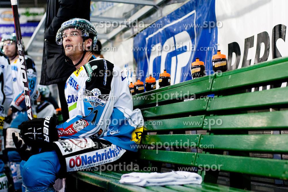 Patrick Leahy (EHC Liwest Linz, #71) during of ice-hockey match between HDD Tilia Olimpija and EHC Liwest Linz in 15th Round of EBEL league, on October 25, 2011 at Hala Tivoli, Ljubljana, Slovenia. (Photo By Matic Klansek Velej / Sportida)