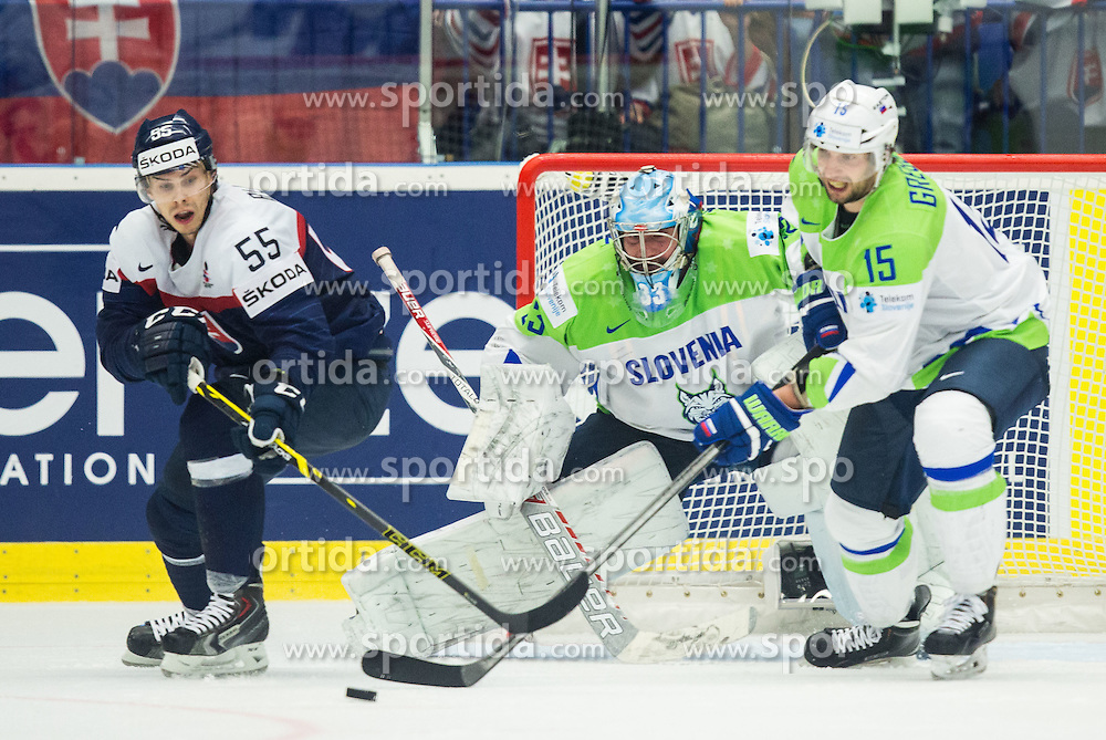 Mario Bliznak of Slovakia vs Robert Kristan of Slovenia and Blaz Gregorc of Slovenia during Ice Hockey match between Slovakia and Slovenia at Day 5 in Group B of 2015 IIHF World Championship, on May 5, 2015 in CEZ Arena, Ostrava, Czech Republic. Photo by Vid Ponikvar / Sportida