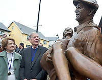 Padraic Dowd, and  Eileen Luskin, who were extras  in the Quiet Man Film filmed in Cong 62 years ago in Cong village for an unveiling of a statue of the lead actors John Wayne and Maureeen O Hara. Picture:Andrew Downes