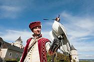 Falconry at Schloss Rosenburg, Walviertel region, Lower Austria. Pictured, falconer Vladimir Garaj in historical costume, with a white Gyr Falcon (Falco rusticolus) © Rudolf Abraham